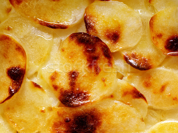 close up of potato gratin food background Stock photo © zkruger