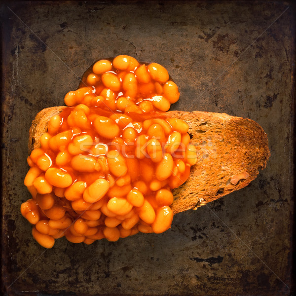 rustic british food baked beans on toast Stock photo © zkruger
