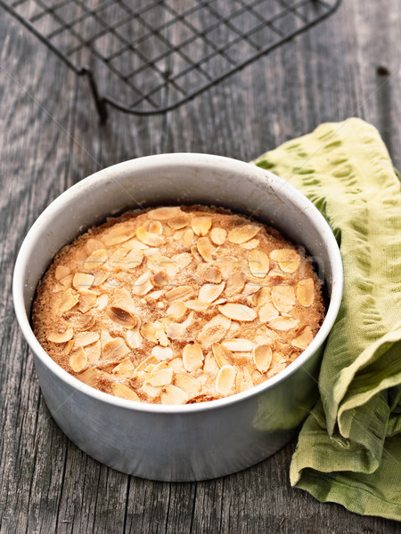 rustic swedish almond cake in baking tin Stock photo © zkruger