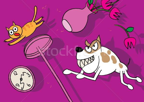 кошки собака ПЭТ борьбе Cartoon отношения Сток-фото © zkruger