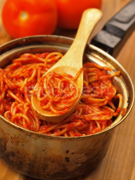 Olla espaguetis salsa de tomate cuchara dieta Foto stock © zkruger
