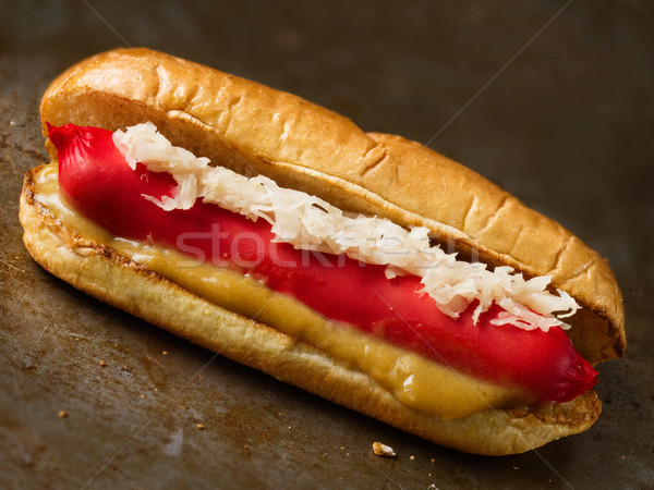 Rustiek amerikaanse hotdog hond vlees Stockfoto © zkruger