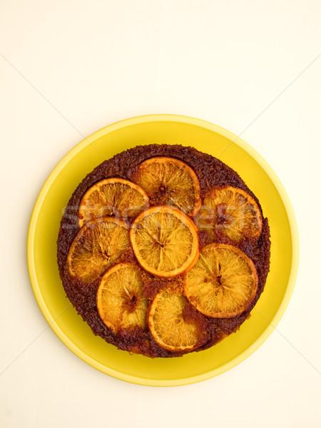 Laranja de cabeça para baixo bolo cor doce Foto stock © zkruger