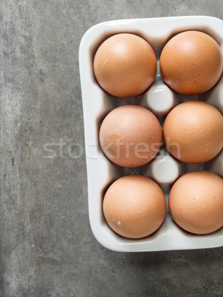 rustic chicken egg Stock photo © zkruger