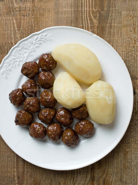 rustic swedish meatball and potato Stock photo © zkruger
