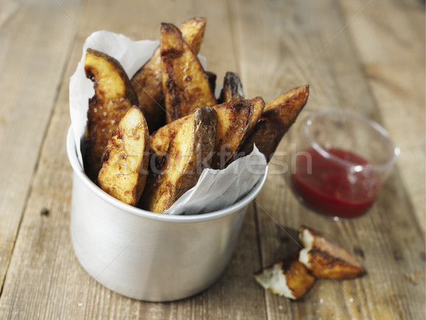 Rustiek Engels chips snel aardappel Stockfoto © zkruger