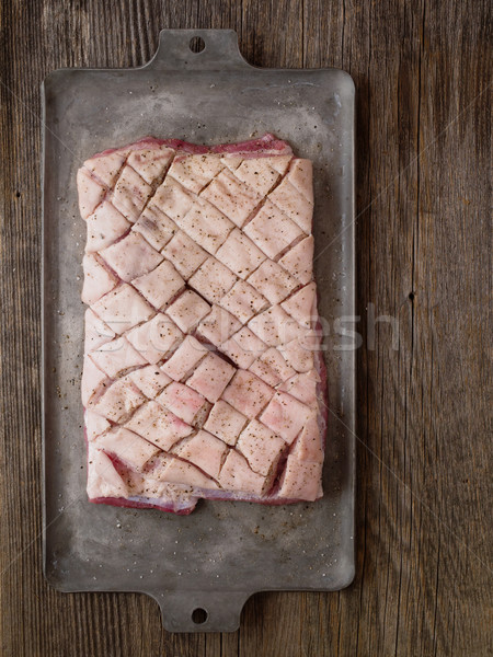 rustic raw uncooked seasoned pork belly Stock photo © zkruger