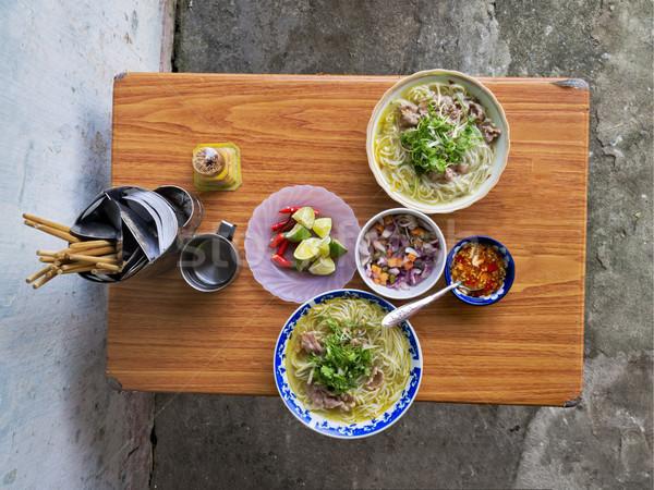 vietnamese street food beef noodles bun bo Stock photo © zkruger