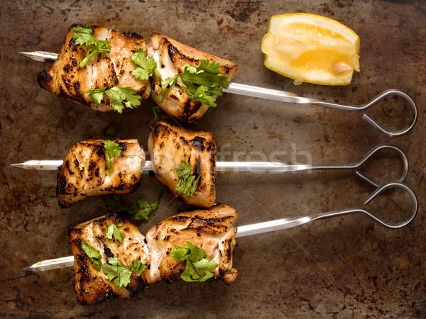 barbecued chicken skewer Stock photo © zkruger