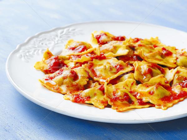 Italiaans ravioli pasta tomatensaus plaat Stockfoto © zkruger