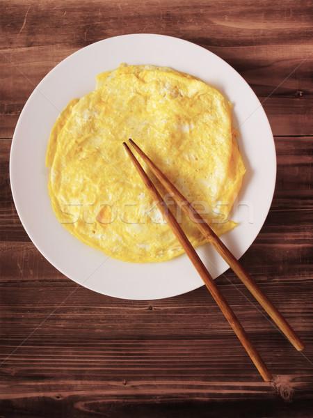 Tükörtojás közelkép tányér étel tojások szín Stock fotó © zkruger