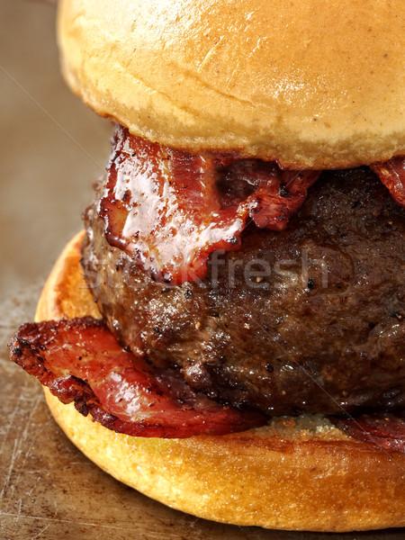 Rústico carnívoro carne hamburguesa Foto stock © zkruger