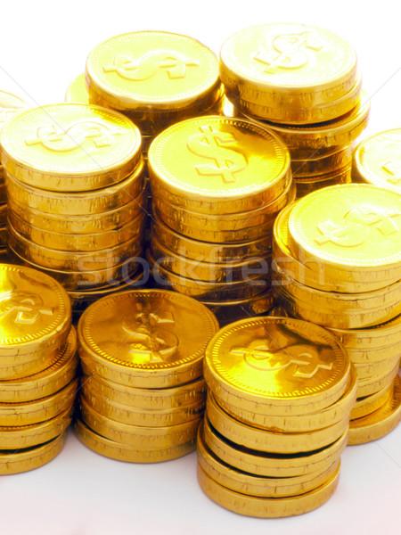 Stockfoto: Gouden · munten · hoop · geld · chocolade · metaal
