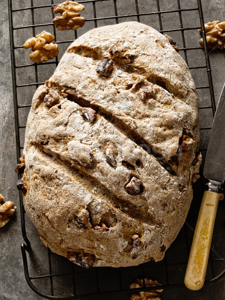 rustic artisan walnut bread Stock photo © zkruger