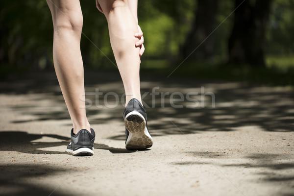 Stockfoto: Fitness · vrouw · park · jogging · meisje · stad
