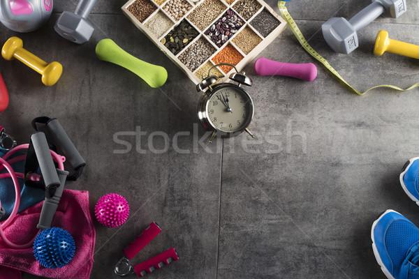 Fitness obiektów odżywianie kamień piętrze sportu Zdjęcia stock © zolnierek