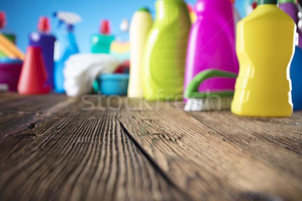 Produtos de limpeza colorido conjunto diferente mesa de madeira azul Foto stock © zolnierek