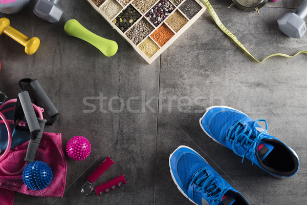 Fitness objetos nutrición piedra piso deporte Foto stock © zolnierek
