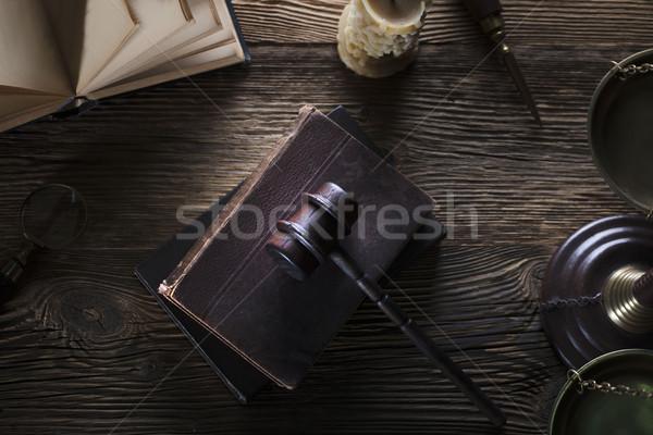 Jurídica juez código símbolos fondo blanco Foto stock © zolnierek