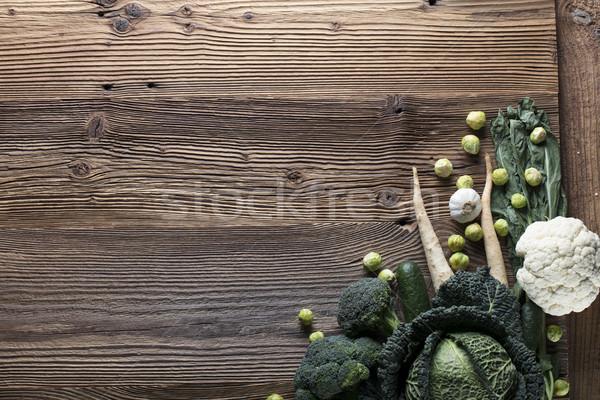 Hortalizas diferente mesa de madera superior vista deporte Foto stock © zolnierek