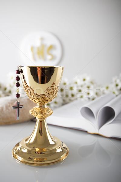 Első szent úrvacsora katolikus vallás feszület Stock fotó © zolnierek