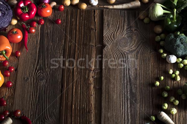 Hortalizas especias diferente bolos mesa de madera superior Foto stock © zolnierek