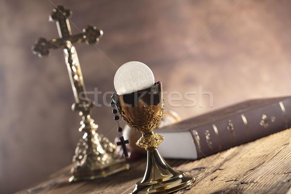 Stock fotó: Katolikus · vallás · szent · Biblia · kereszt · arany