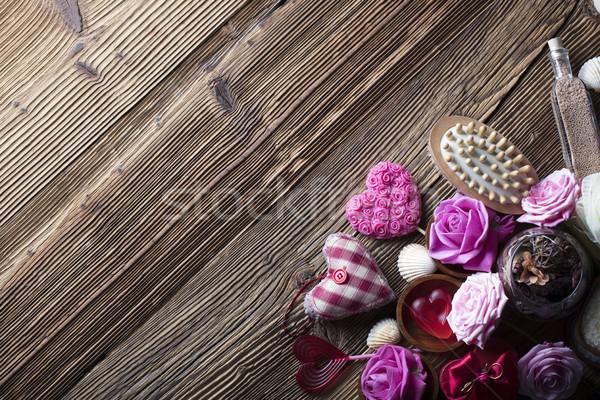 Stockfoto: Spa · rozen · harten · houten · tafel · gezondheid