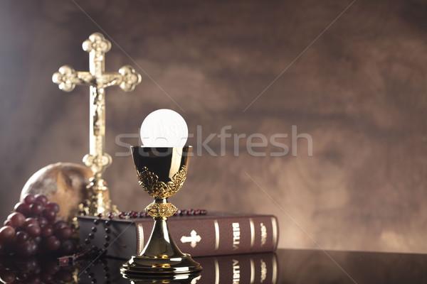 Katholiek godsdienst heilig bijbel kruis goud Stockfoto © zolnierek