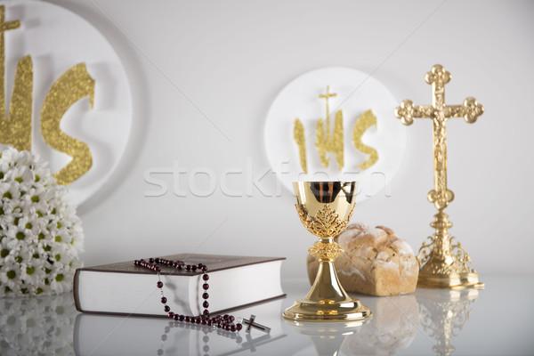 Pierwszy święty komunii katolicki religii krucyfiks Zdjęcia stock © zolnierek