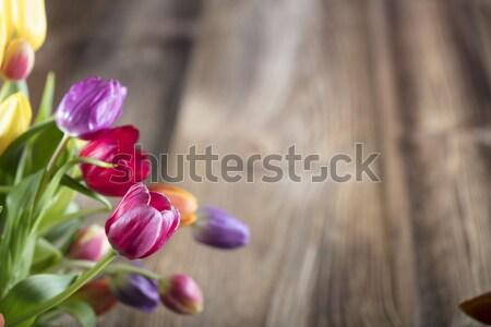 Stockfoto: Voorjaar · bloemen · boeket · tulpen · kleurrijk · bokeh