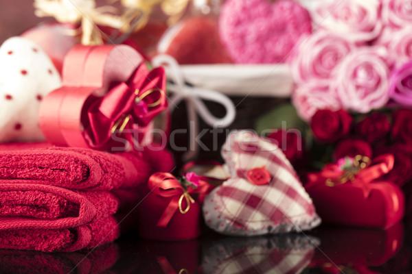 Dzień serca róż symbolika walentynki szkła Zdjęcia stock © zolnierek