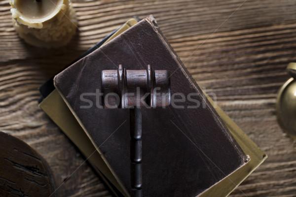 Yasal yargıç kod semboller arka plan çekiç Stok fotoğraf © zolnierek