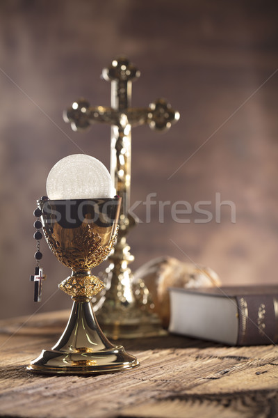 Catholique religion bible croix or Photo stock © zolnierek