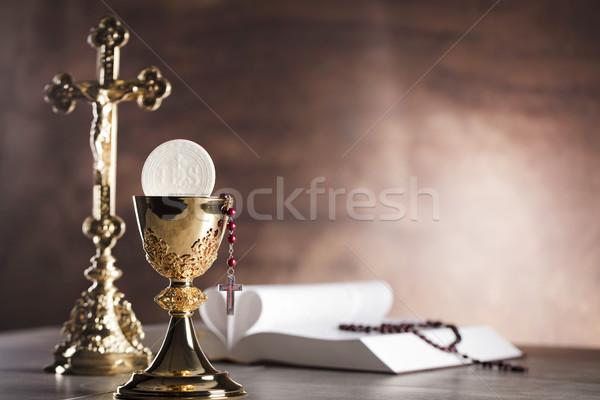 Katolikus vallás kereszt arany kehely kő Stock fotó © zolnierek