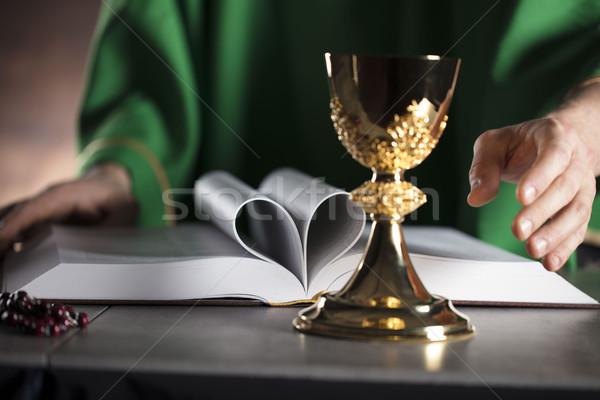 Stock fotó: Katolikus · vallás · pap · szent · tömeg · kereszt