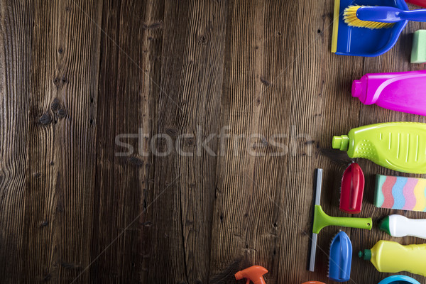 Wiosną wybór kolorowy domu produktów czyszczących rustykalny Zdjęcia stock © zolnierek