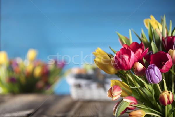 Pascua ramo tulipanes huevos de Pascua colorido bokeh Foto stock © zolnierek