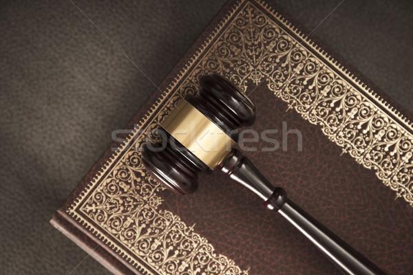 Yasal yargıç kod semboller ahşap arka plan Stok fotoğraf © zolnierek