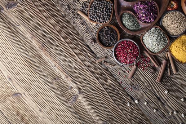 Przyprawy zestaw kolorowy inny kręgle drewniany stół Zdjęcia stock © zolnierek