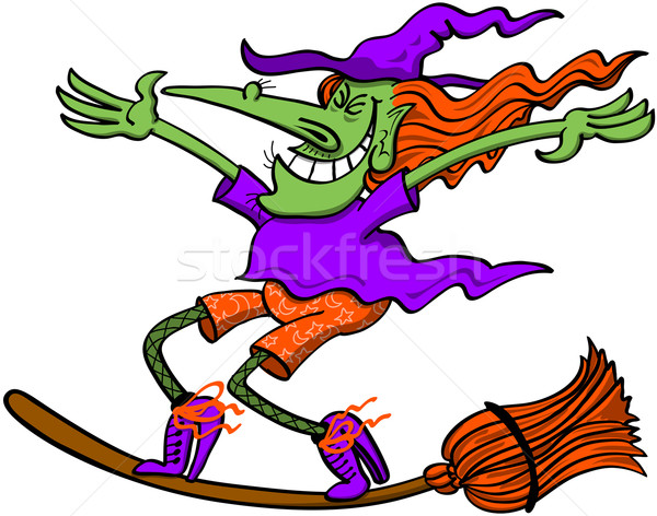 Crazy witch standing on top of her magic broom, extending her arms and maintaining balance while fly Stock photo © zooco