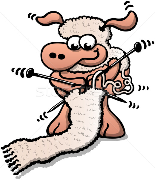 Cool sheep knitting a scarf Stock photo © zooco