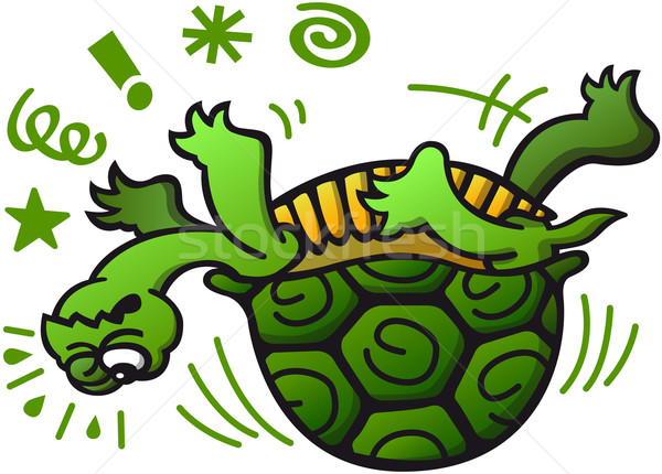 Green turtle in trouble when laying on its back Stock photo © zooco