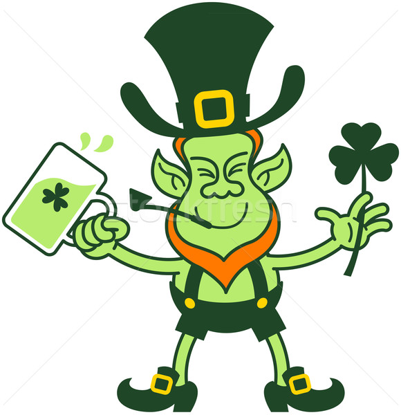 Stock photo: Green Leprechaun Smiling while Holding Beer and a Shamrock Clover