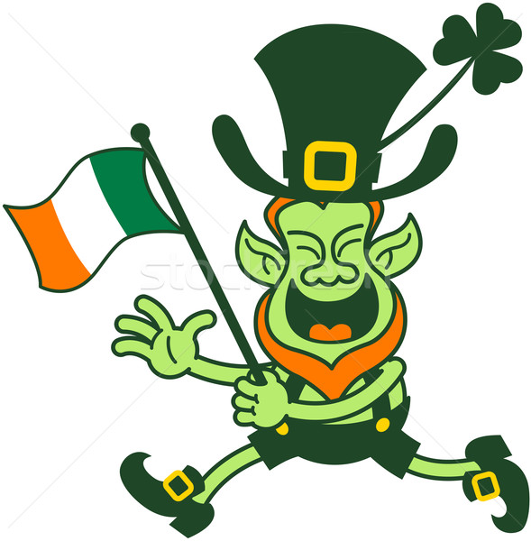 Proud Leprechaun Running and Waving an Irish Flag Stock photo © zooco
