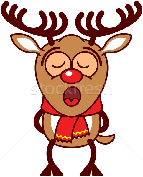 Cute reindeer singing Christmas songs Stock photo © zooco