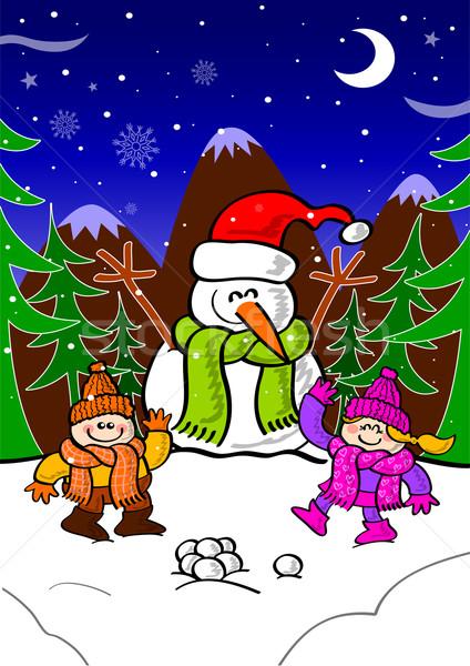 Kardan adam çocuklar oynama kar Noel Stok fotoğraf © zooco