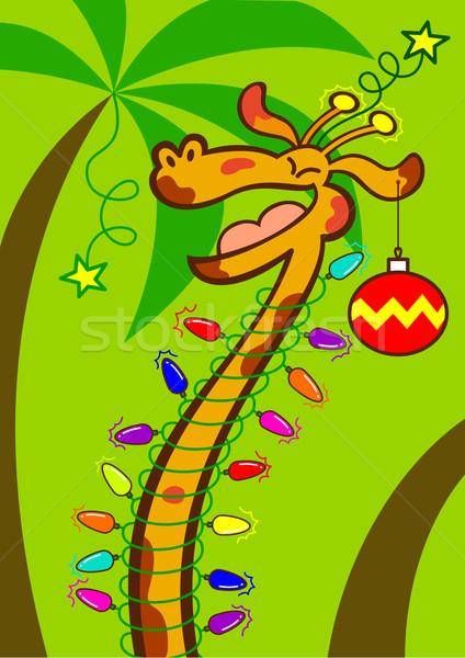 Joyful giraffe celebrating Christmas in tropical Africa Stock photo © zooco