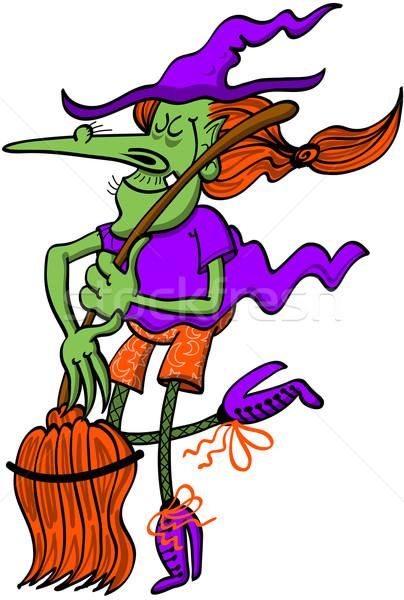 Halloween cadı dans süpürge serin güzel Stok fotoğraf © zooco
