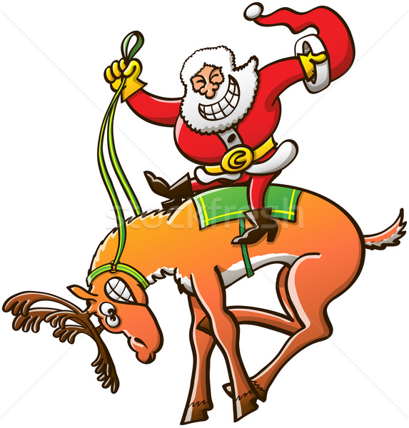Santa Claus in a Christmas rodeo exhibition Stock photo © zooco